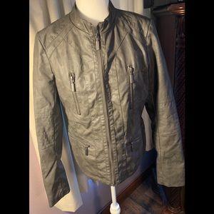 Xhileration Large Gray Faux Leather Jacket Large